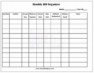 Free printable monthly bill organizer http teachme2save for Free bill paying organizer template