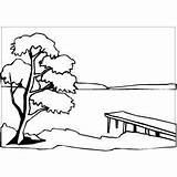 Sunset River Coloring Landscapes Printable Freeprintablecoloringpages Landscape Lake Drawing Nature sketch template