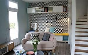 Idee Salon Scandinave : couleur rose et bleu pastel en peinture deco salon chambre ~ Melissatoandfro.com Idées de Décoration