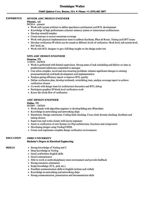 asic design engineer resume sles velvet