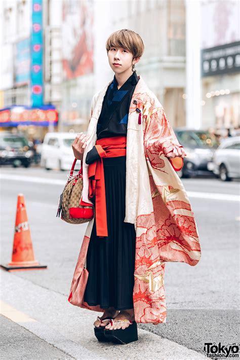 harajuku guy  kimono street street style  okobo geta sandals gucci handbag