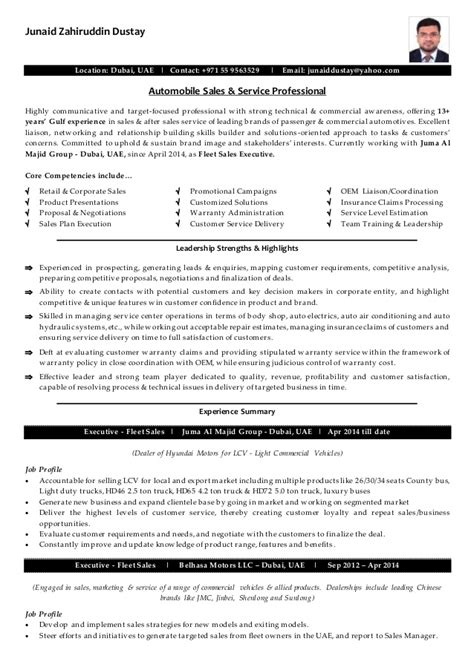 100 automobile sales executive resume sales manager
