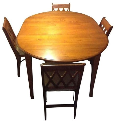 used ethan allen dining table with 4 chairs contemporary