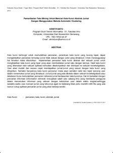 Pemanfaatan Teks Mining Untuk Mencari Kata Kunci Abstrak