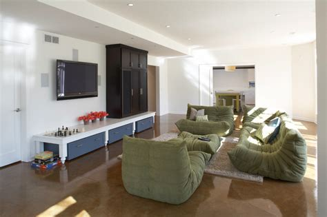 kid friendly basement contemporary home theater