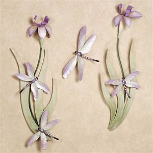 dragonflies and iris blooms metal wall sculpture set With dragonfly wall decor