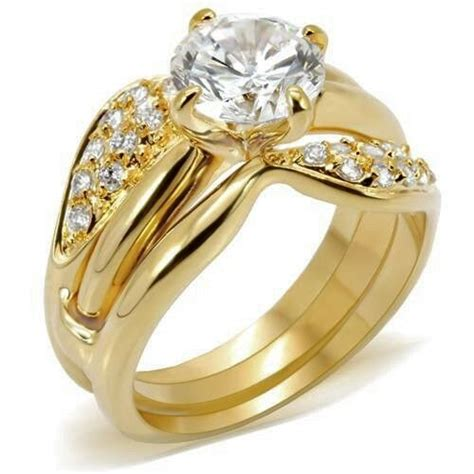 gold plated deco wedding ring size 9 10 rings cubic zirconia usa seller ebay