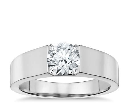 flat solitaire engagement ring in 14k white gold 5mm blue nile