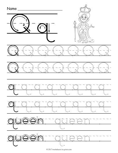 Free Printable Tracing Letter Q Worksheet  Tracing Worksheets  Pinterest  Tracing Letters
