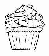 Coloring Cupcake Pages Cupcakes Sprinkles Hearts Birthday Sheets Adult Printable sketch template