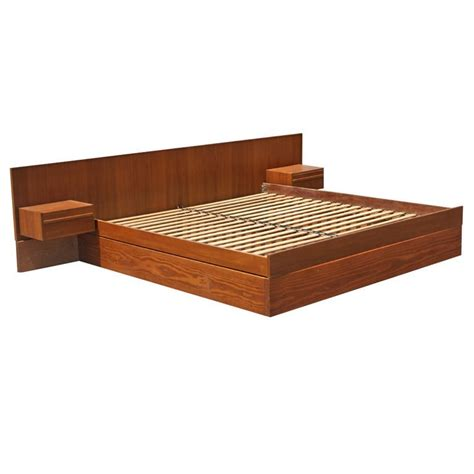 teak king size platform bed with nightstands at 1stdibs