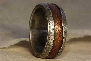 rustic man39s ring of sterling silver and copper man39s With rustic wedding rings for men