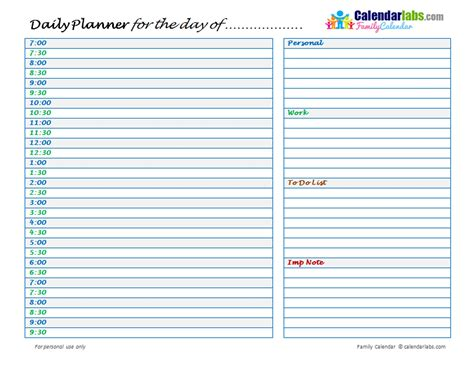 family daily planner  printable templates