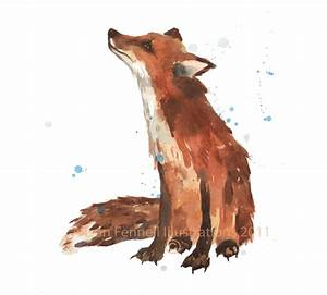 Watercolor FOX print 8x10 print ready to frame fox lover