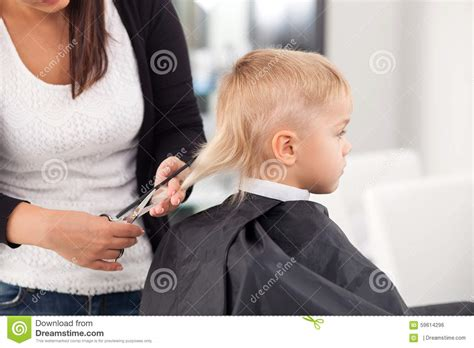 professional young hairdresser  cutting hair  stock