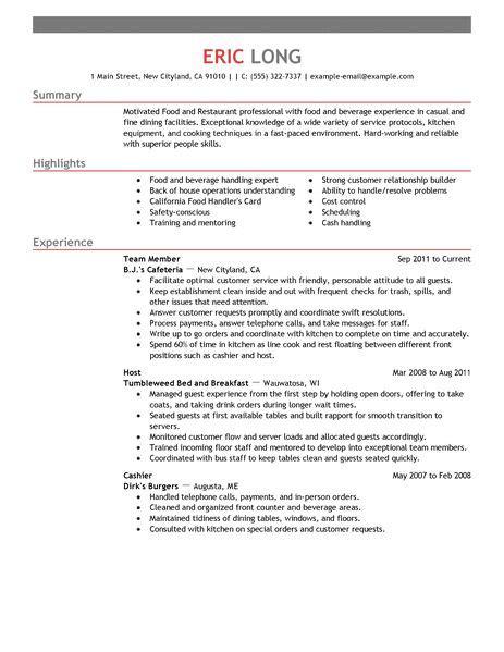 resume for restaurant fast food restaurants resume