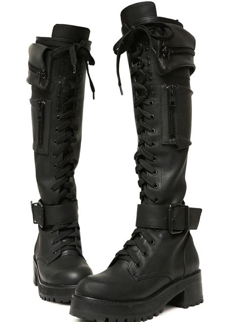 Current Mood Obsidian Pocket Knee High Combat Boots