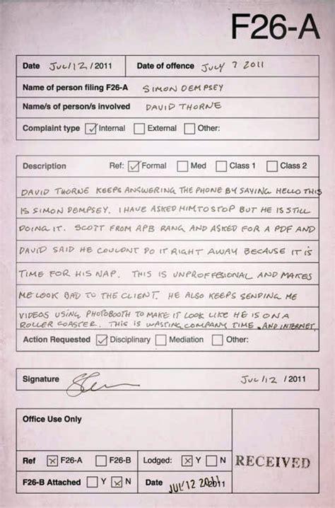 ways  receive formal complaints   coworker