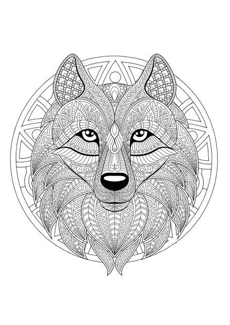 mandala  geometric patterns  wolf head full  complex details mandalas adult coloring