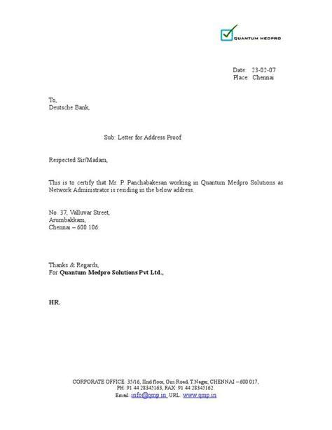 declaration letter format address proof letter