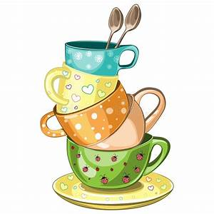 Stacked tea cups stock vector. Illustration of spoon ...