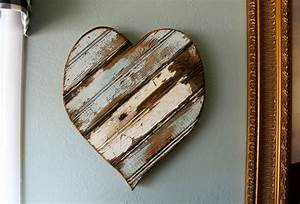 Wooden heart wall hanging art french country
