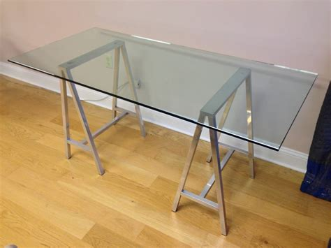 glass top work desk glass top aluminum saw horse leg table or desk at 1stdibs
