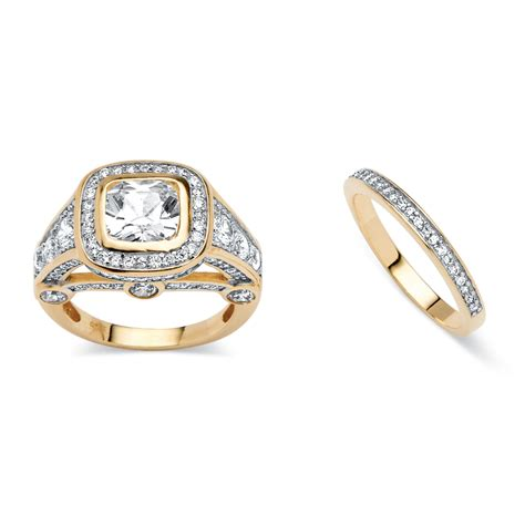 2 Piece 467 Tcw Cubic Zirconia Bridal Ring Set 18k Gold. Weddinh Wedding Rings. Tungsten Carbide Rings. Captain Planet Rings. Fire Engagement Rings. Large Cluster Wedding Rings. Plain Engagement Rings. Pushyaragam Rings. 1.13 Carat Engagement Rings