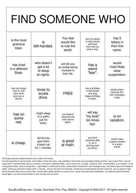 Find Someone S Resume by Find Someone Who Bingo Cards To Print And Customize