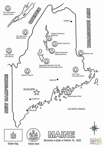 Maine Coloring Map Pages State Printable Bird