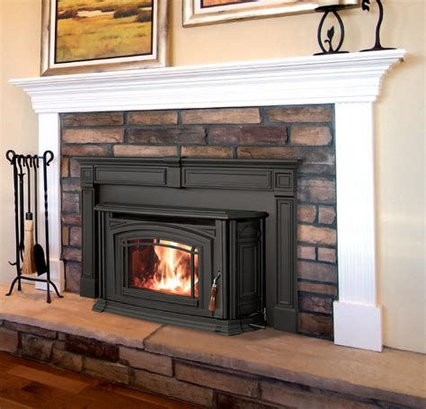 I like this pellet stove with a mantel  Home Decor