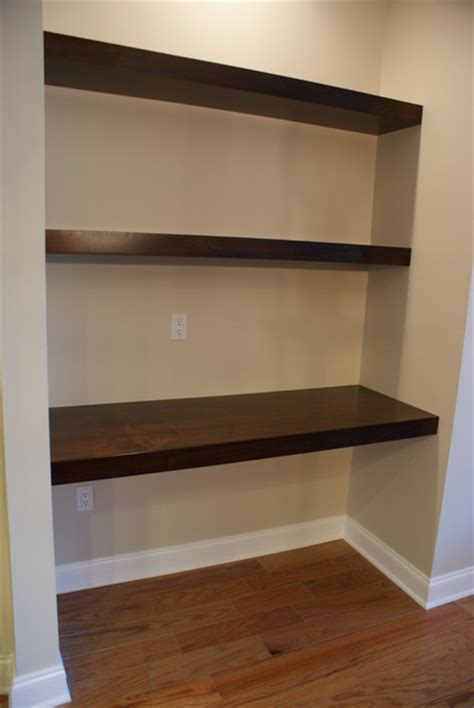Ikea Metal Shelves Kitchen by Floating Walnut Shelves Contemporary Jacksonville By
