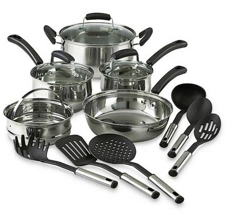 cookware steel stainless kitchen cooking pots pans tools piece utensils amazon trade extra save