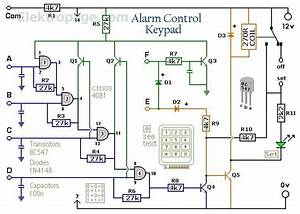Enhanced 4 Digit Alarm Keypad Schematic Circuits  Enhanced