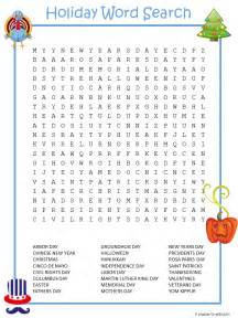 Holiday Word Search Puzzles Printable
