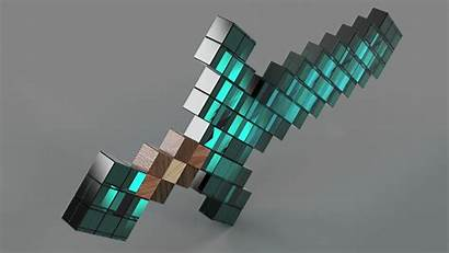 Minecraft Diamond Background Sword 4k Render Environment