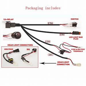 Wiring Harness Led Light Bar 9005  H4 High Beam Driving