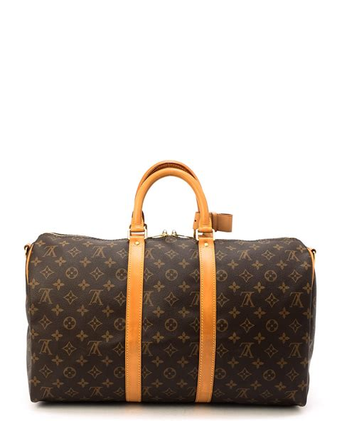 lyst louis vuitton monogram keepall  bandou travel bag
