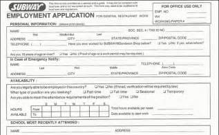 Subway Job Application Form