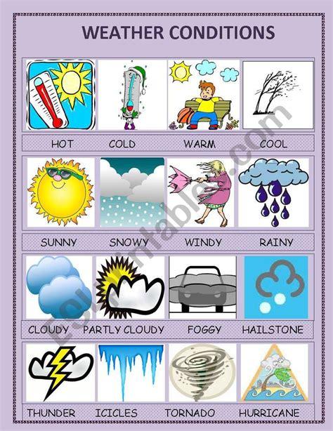 weather conditions esl worksheet  ipek