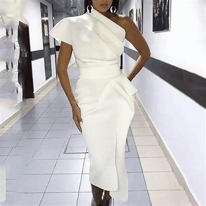 Dresses Bodycon Elegant Shoulder Waist Pure Sloping