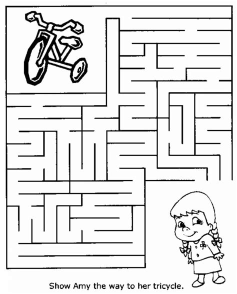 easy mazes printable mazes for best coloring 986 | Easy Mazes Tricycle 825x1024