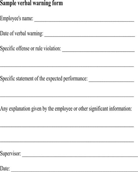 verbal warning template sle verbal warning for free formtemplate