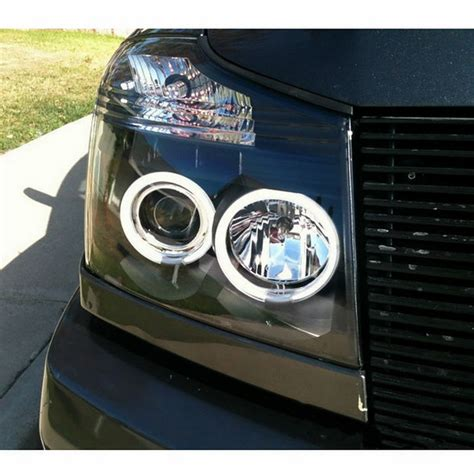 2004 14 nissan titan black ccfl halo led projector headlights