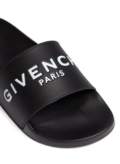 designer slide sandals lyst givenchy logo rubber slides in black