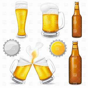 Brown beer bottle, glass and mugs Royalty Free Vector Clip ...