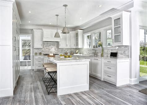 white cabinets gray floor gray kitchen floors transitional kitchen vita design 278 | gray kitchen floor altamont metal pendants