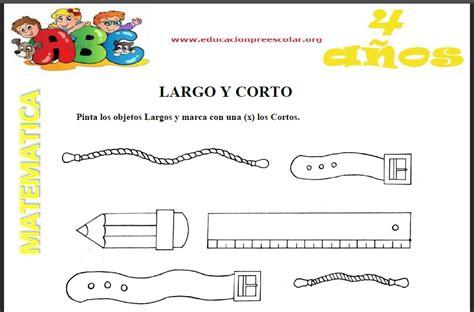Fichas de Largo y Corto Para Niños de 4 Años Educación