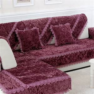 l shaped sofa cover towel pads velvet fabric warm corner With sectional sofa cover pad