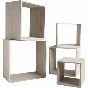 Etagere Cube Noir : etagere cube bois gris ~ Teatrodelosmanantiales.com Idées de Décoration